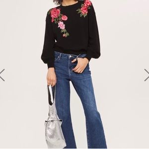 Topshop | 8 | floral embroidered cotton sweater